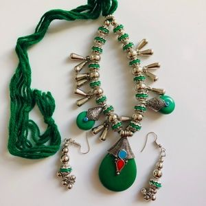 Green Onyx stone jewelry neckless with earring